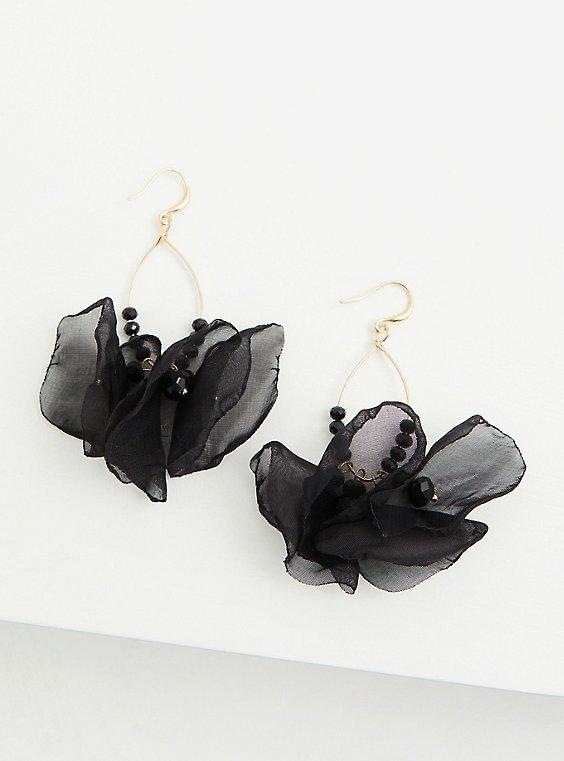 Black Chiffon Teardrop Statement Earrings, , hi-res