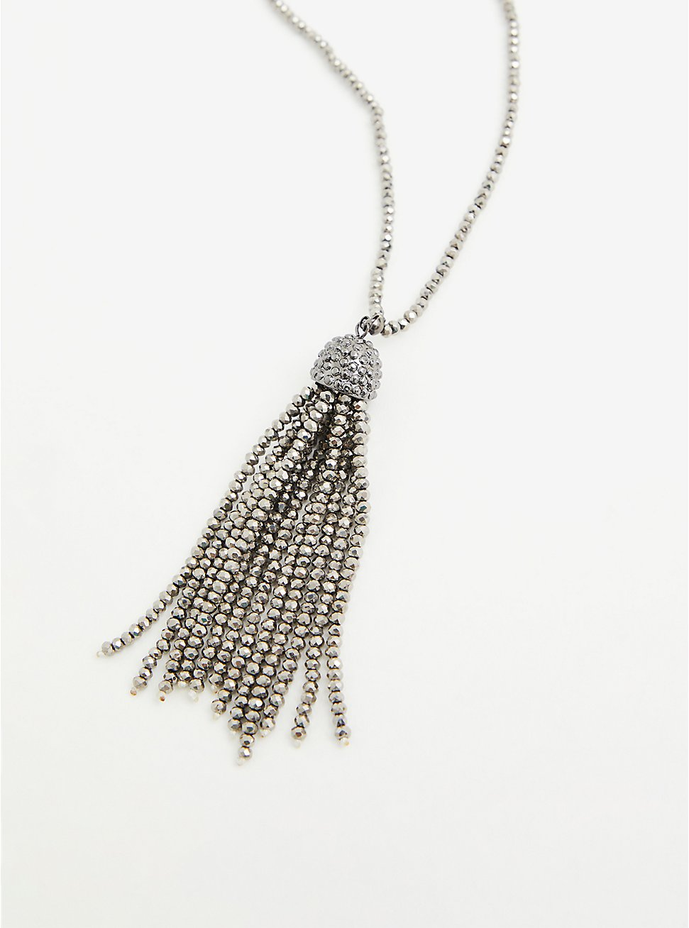 Silver-Tone Beaded Tassel Necklace, , hi-res