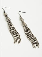 Silver Glitzy Tassel Statement Earrings, , alternate