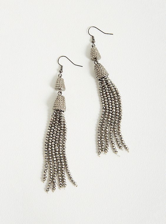 Silver Glitzy Tassel Statement Earrings, , hi-res