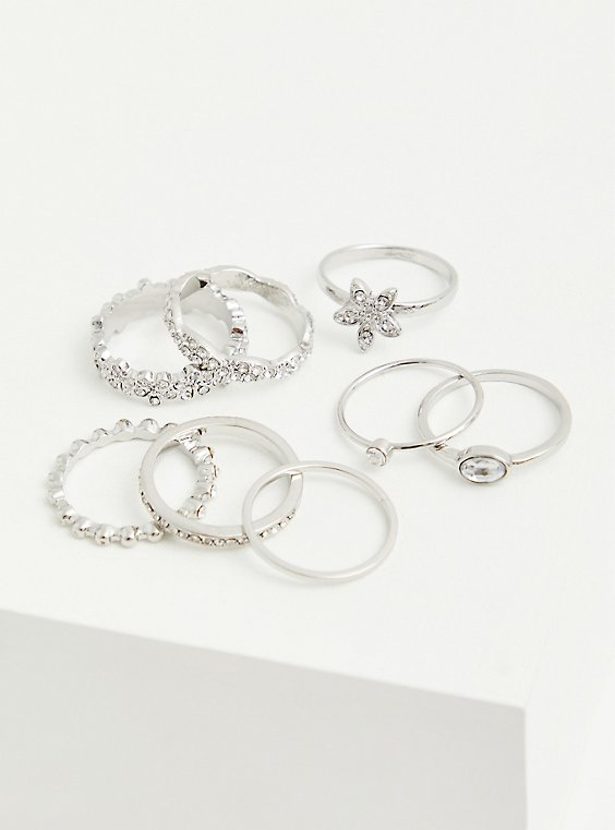 Silver-Tone Pave Floral Ring Set - Set of 8, SILVER, hi-res