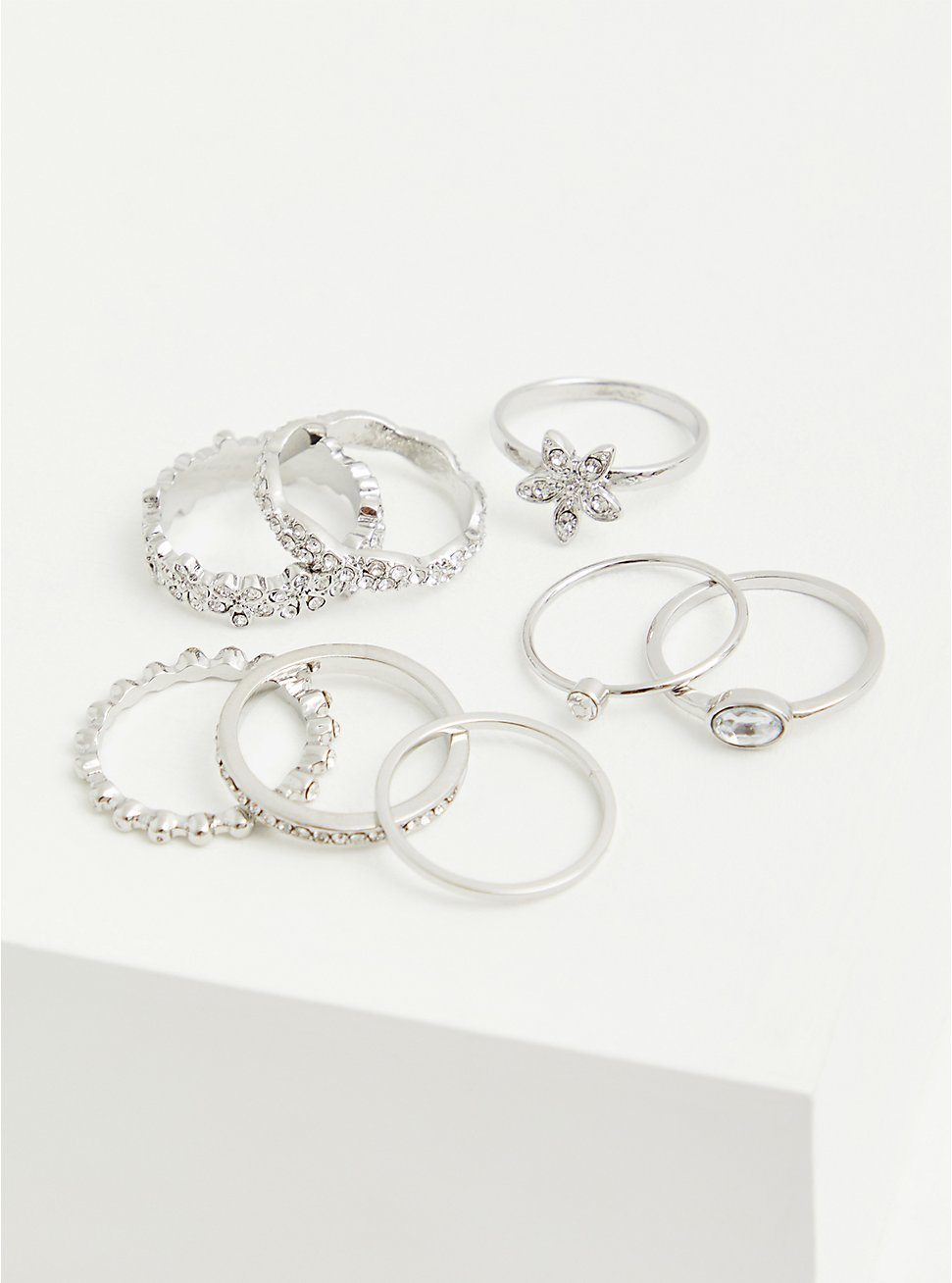 Plus Size Silver-Tone Pave Floral Ring Set - Set of 8, SILVER, hi-res