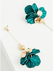 Teal Petal & Gold-Tone Drop Earrings, , alternate