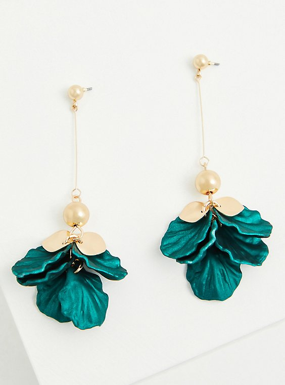Teal Petal & Gold-Tone Drop Earrings, , hi-res