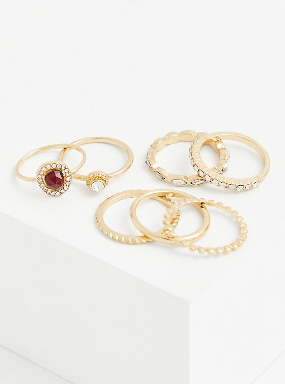 Gold-Tone and Red Faux Stone Ring Set - Set of 7, , hi-res