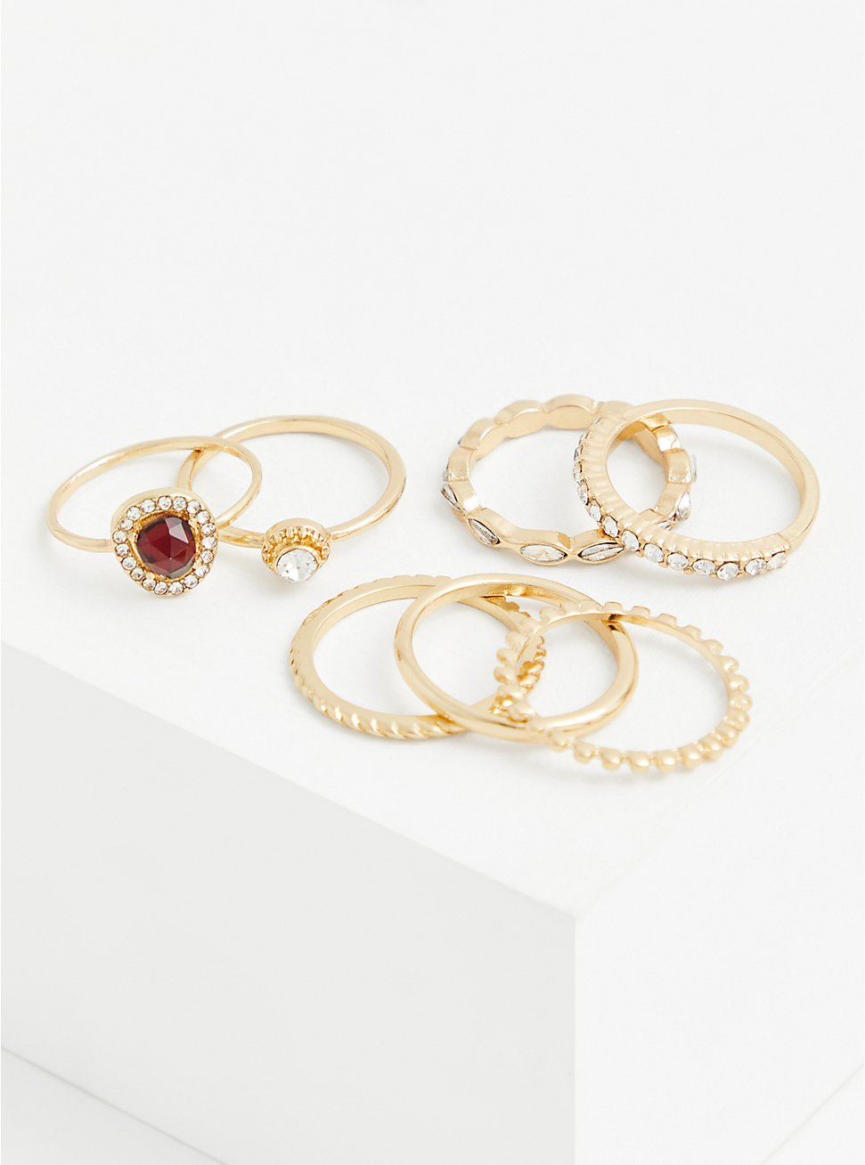Gold-Tone and Red Faux Stone Ring Set - Set of 7, GOLD, hi-res