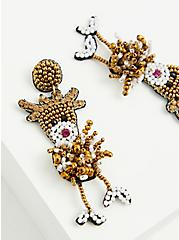 Beaded Reindeer Statement Earrings, , alternate
