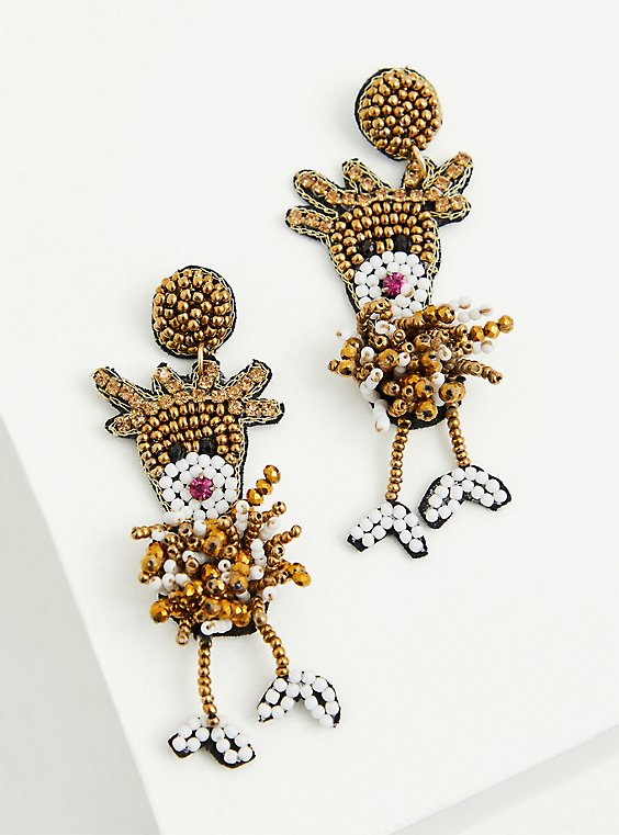 Beaded Reindeer Statement Earrings, , hi-res