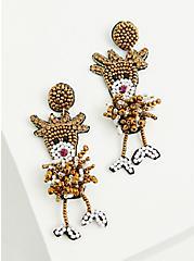 Beaded Reindeer Statement Earrings, , hi-res
