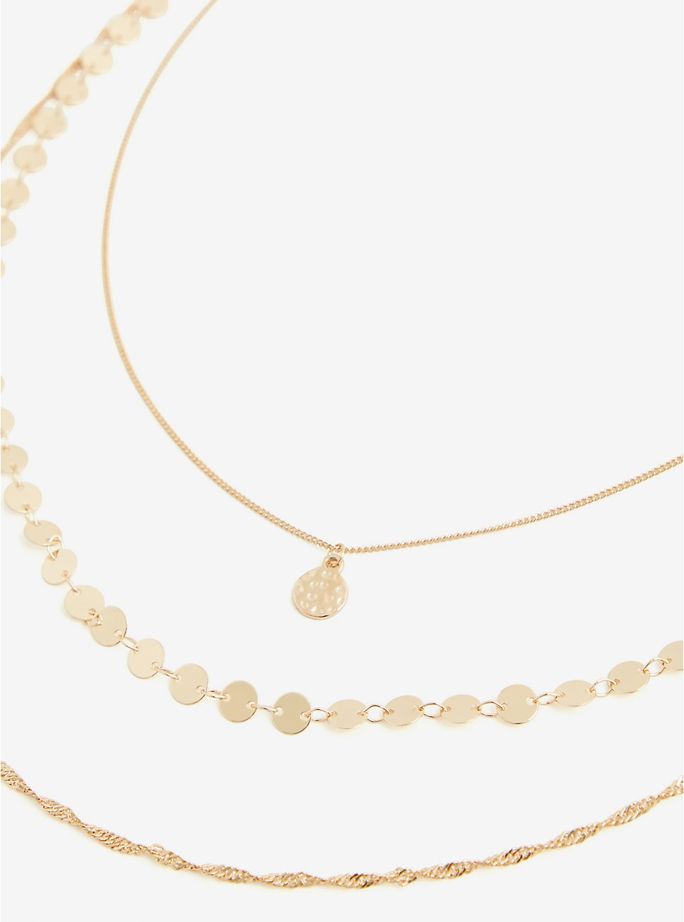 Gold-Tone 3 Layer Necklace, , hi-res