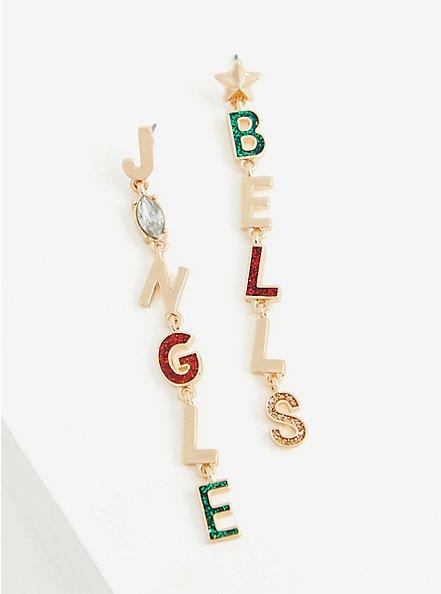 Gold-Tone Jingle Bells Linear Dangle Earrings, , alternate
