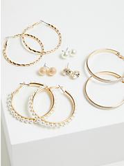 Plus Size Pearl and Gold-Tone Stud & Hoop Earrings Set - Set Of 6, , alternate
