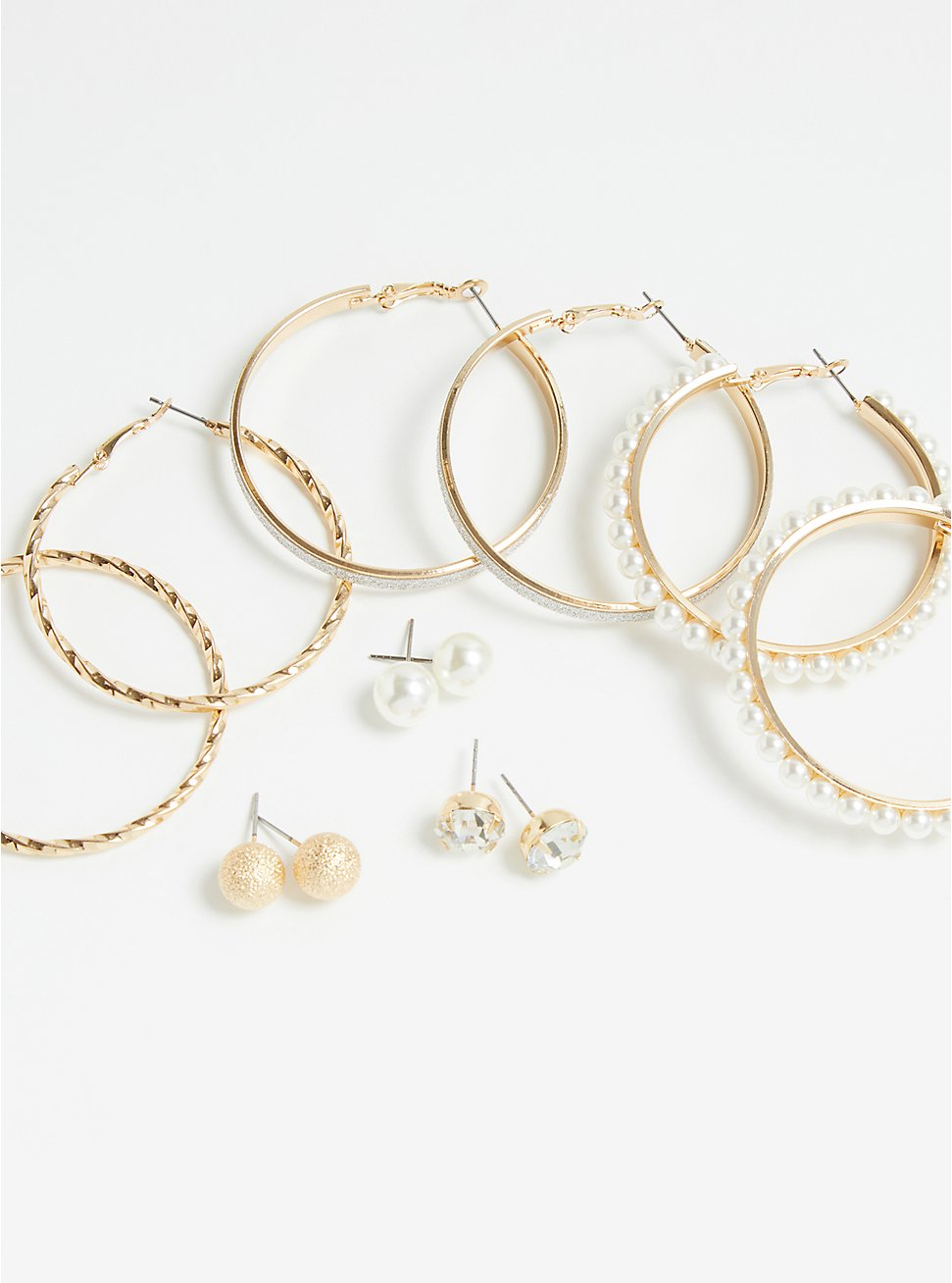 Plus Size Pearl and Gold-Tone Stud & Hoop Earrings Set - Set Of 6, , hi-res