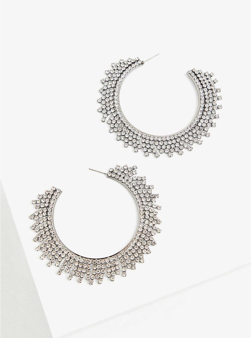 Plus Size Hematite Shaky Hoop Earrings, , hi-res