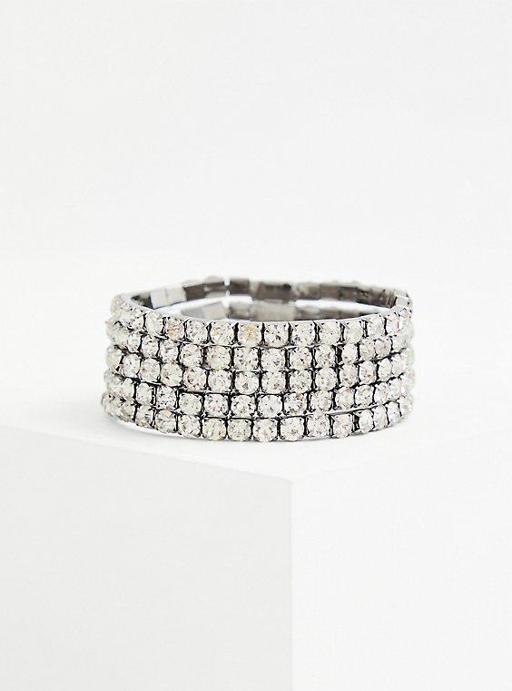 Hematite Rhinestone Stretch Bracelet Set - Set of 5, , hi-res