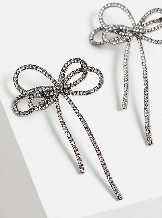 Hematite Oversized Bow Statement Earrings, , hi-res