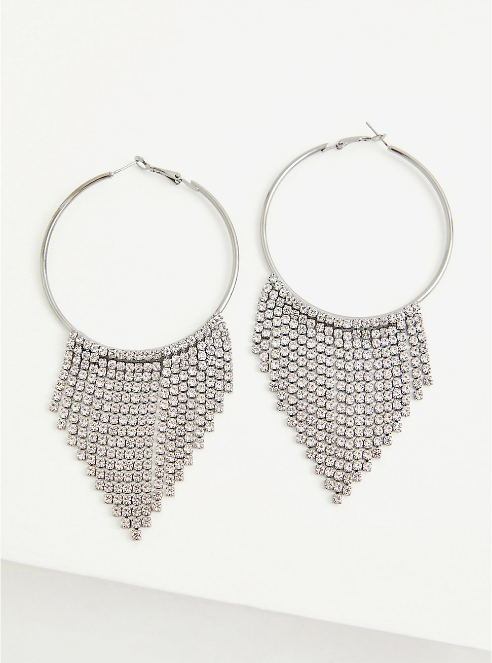 White Gold Tapered Dangle Hoop Earrings, , hi-res