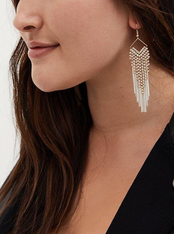 White Gold Fringe Earrings, , hi-res