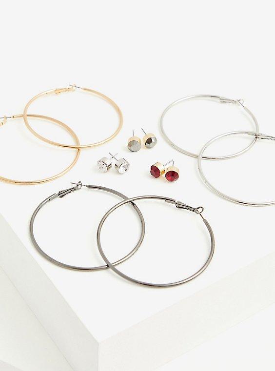 Gold and Silver-Tone Stud & Hoop Earrings Set - Set Of 6, , hi-res