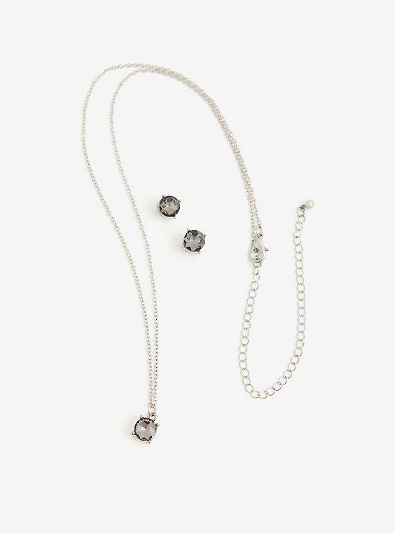 Black Diamond Stud and Pendant Set, , hi-res