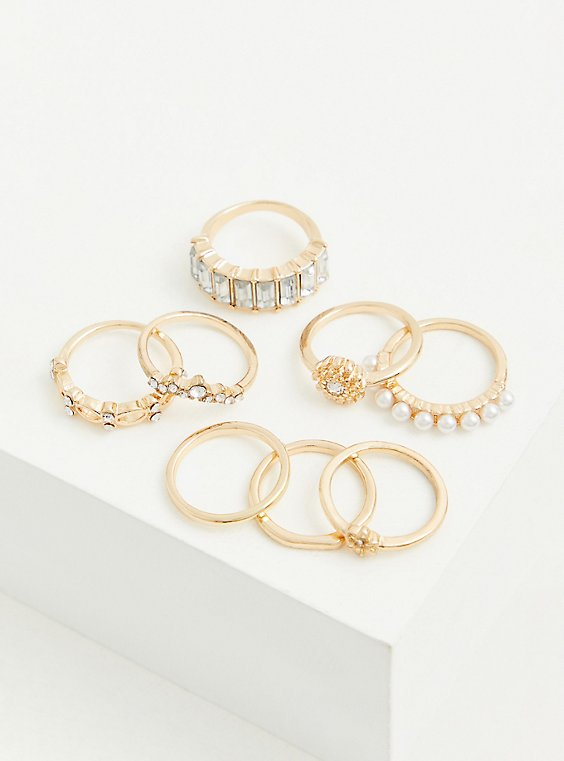 Gold-Tone Faux Pearl Ring Set - Set of 8, , hi-res