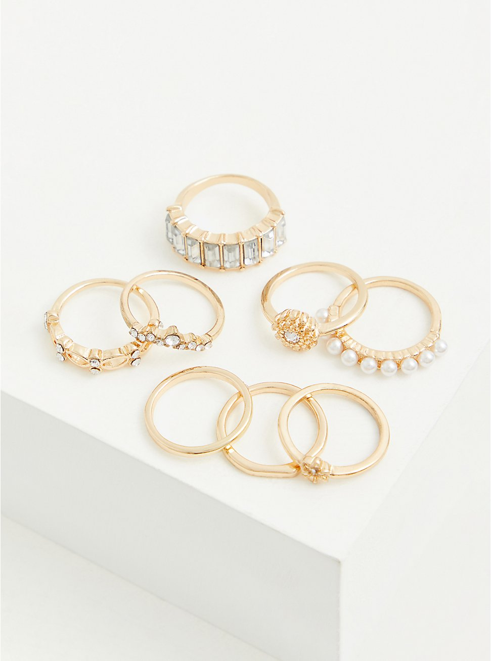 Gold-Tone Faux Pearl Ring Set - Set of 8, GOLD, hi-res