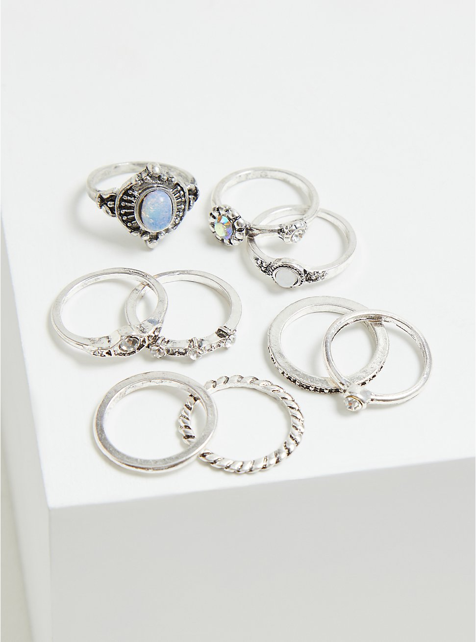 Silver-Tone and Faux Opal Ring Set - Set of 9, SILVER, hi-res