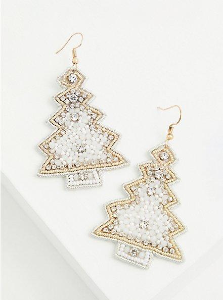 White Christmas Tree Statement Earrings, , alternate