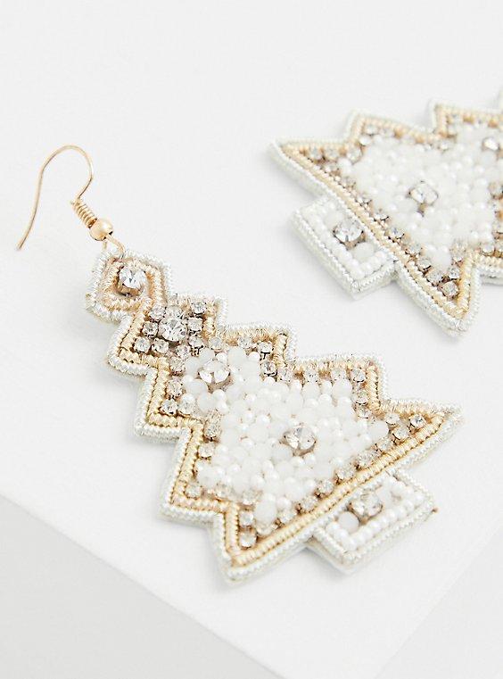White Christmas Tree Statement Earrings, , hi-res