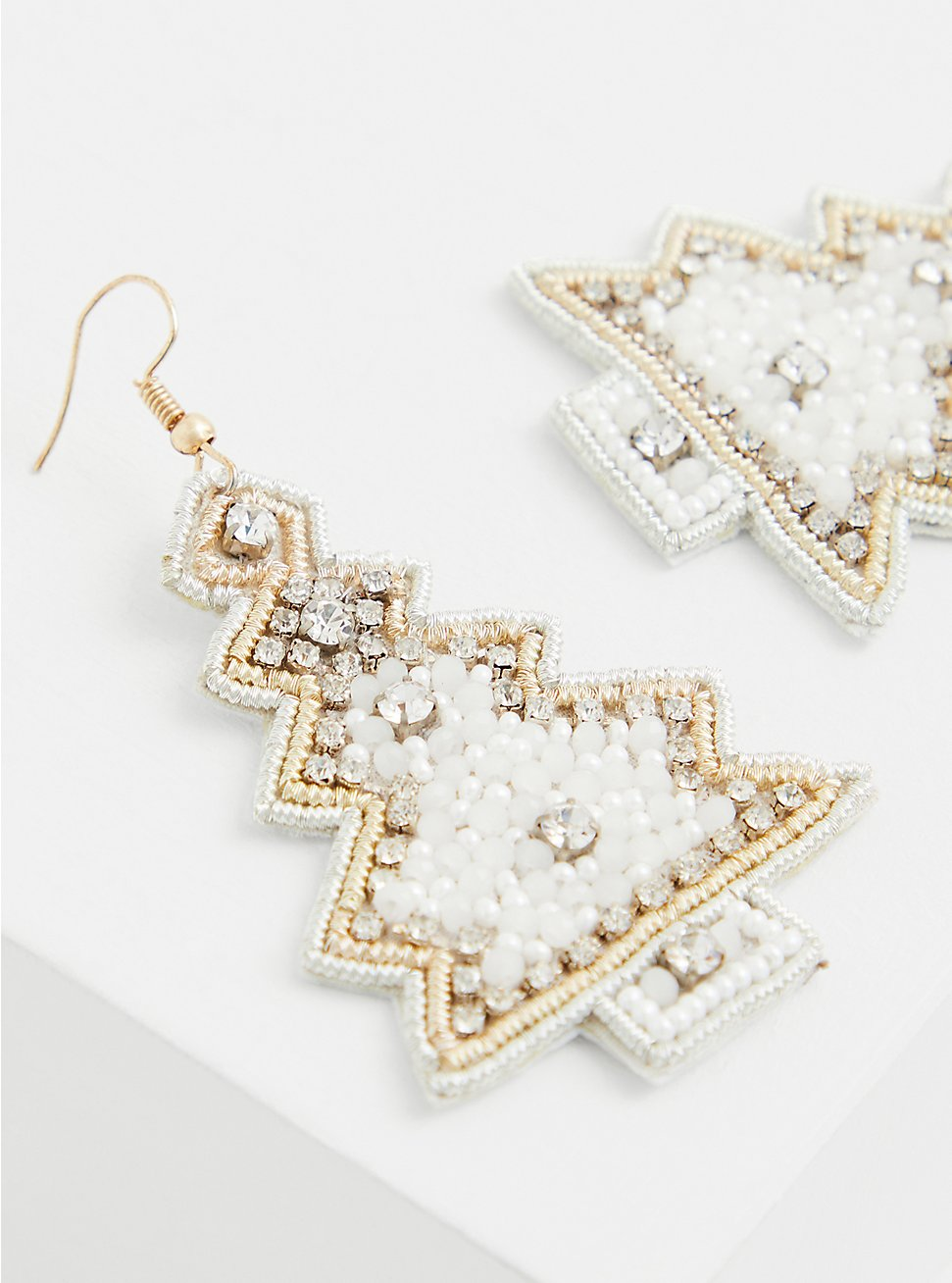 Plus Size White Christmas Tree Statement Earrings, , hi-res