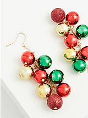 Red Gold and Green Holiday Ornaments Shaky Dangle Earrings, , hi-res