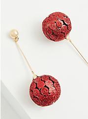 Red Holiday Ornament Dangle Earrings, , alternate