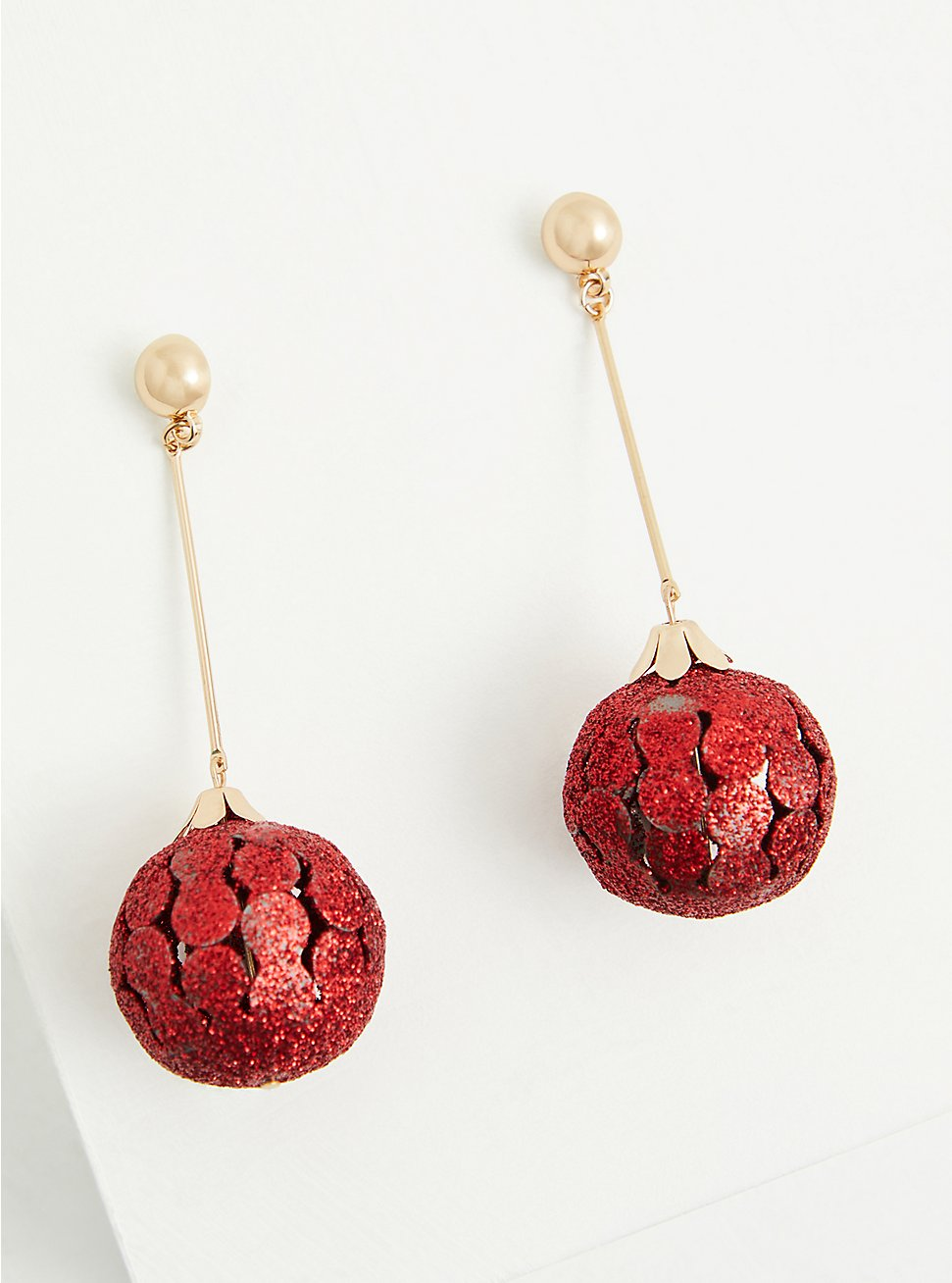 Red Holiday Ornament Dangle Earrings, , hi-res