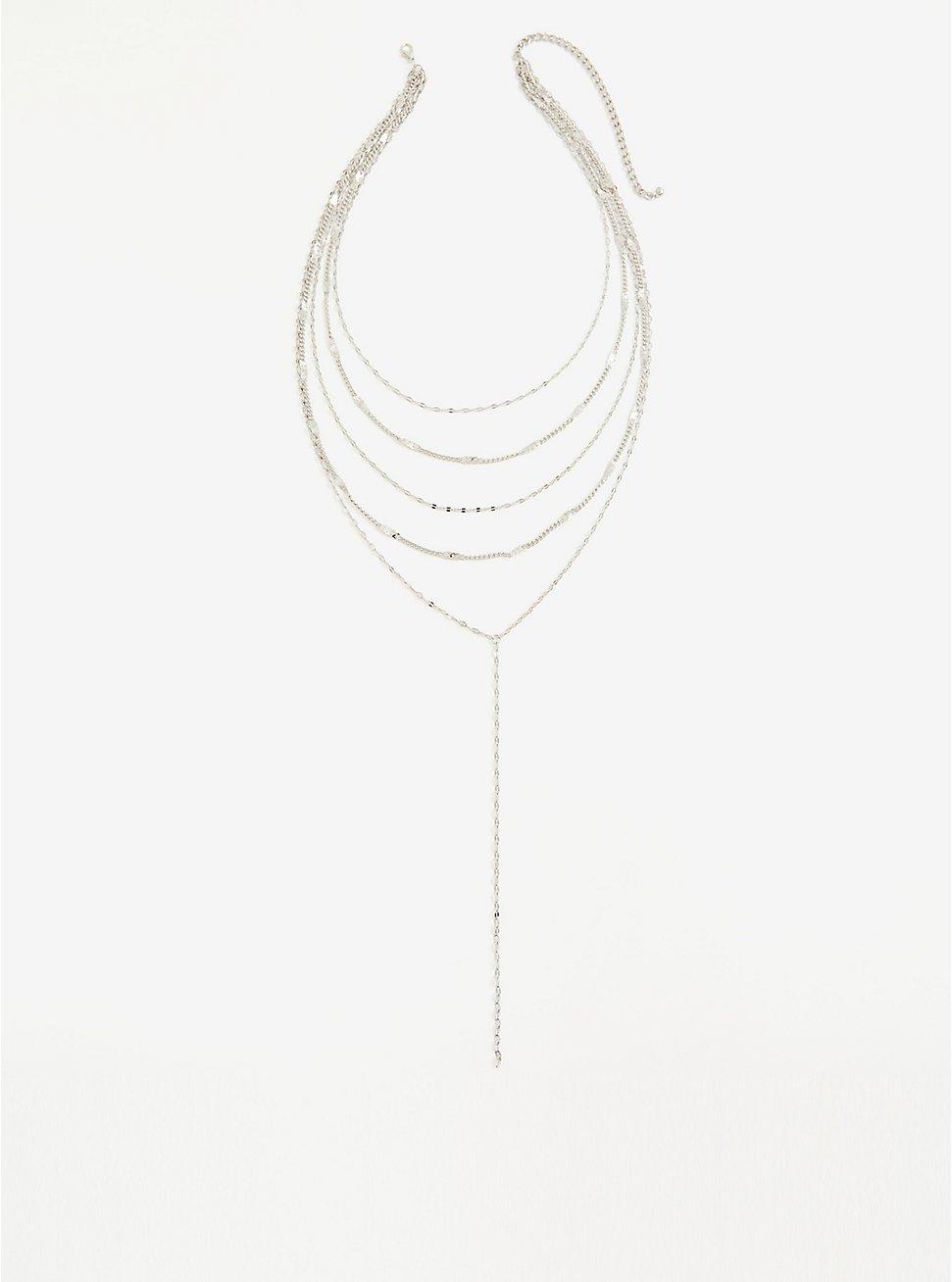 Silver-Tone Layered Y Necklace, , hi-res