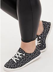 Riley - Black Floral Ruched Sneaker, GREY, hi-res