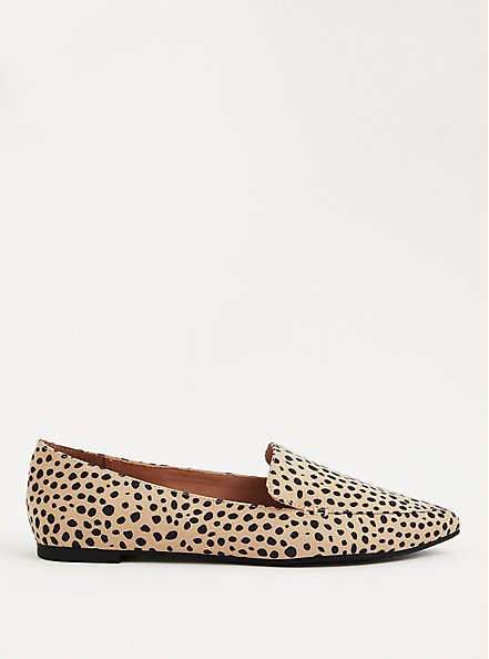 Cheetah Faux Suede Pointed Toe Loafer (WW), BROWN, alternate