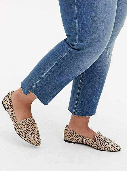 Cheetah Faux Suede Pointed Toe Loafer (WW), BROWN, hi-res