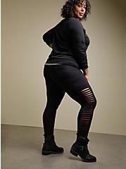 Premium Legging - Slashed Ladder Side Black, BLACK, hi-res