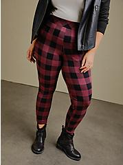 Premium Legging - Buffalo Plaid Burgundy Purple & Black , MULTI, alternate
