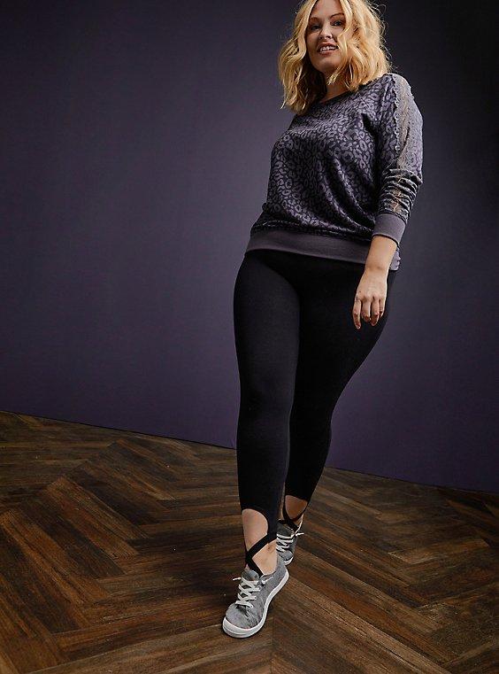Premium Leggings - Stirrup Ballet Hem Black , BLACK, hi-res
