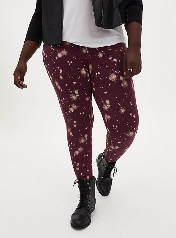 Premium Legging - Star Explosion Burgundy Purple, MULTI, hi-res