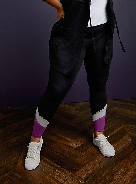 Premium Legging - Tie-Dye Hem & Black , MULTI, alternate