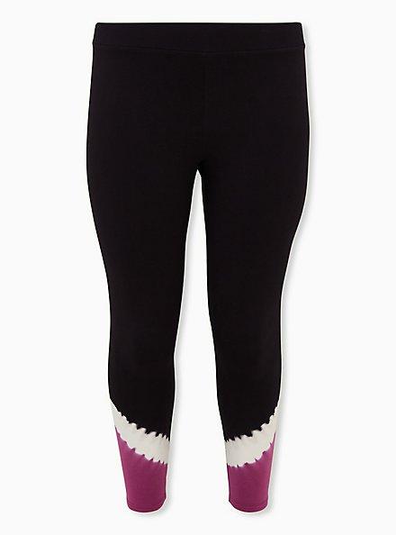 Premium Legging - Tie-Dye Hem & Black , MULTI, hi-res