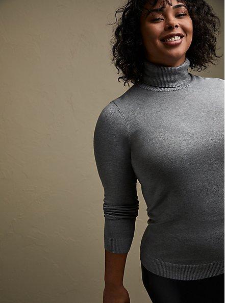 Plus Size Grey Turtleneck Pullover Top, GREY, alternate