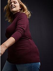 Burgundy Purple Turtleneck Pullover Top, WINETASTING, alternate