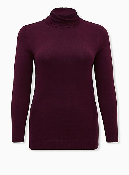 Burgundy Purple Turtleneck Pullover Top, WINETASTING, hi-res