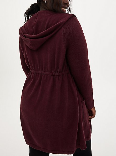Plus Size Burgundy Purple Hooded Anorak Cardigan, WINETASTING, alternate