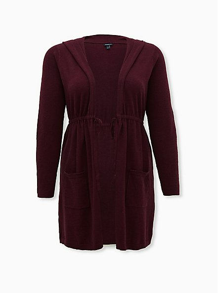 Plus Size Burgundy Purple Hooded Anorak Cardigan, WINETASTING, hi-res