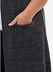 Super Soft Plush Grey Duster Cardigan, GREY, alternate