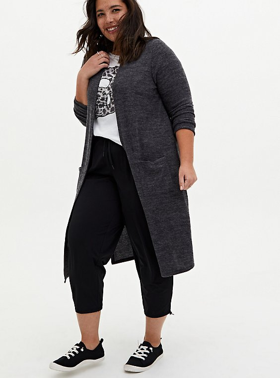 Super Soft Plush Grey Duster Cardigan, , hi-res